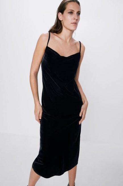 Abito modello lingerie in velluto Zara inverno 2019 2020
