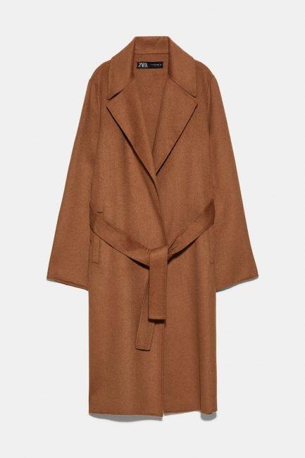 Cappotto Zara a vestaglia colore camel scuro 2020