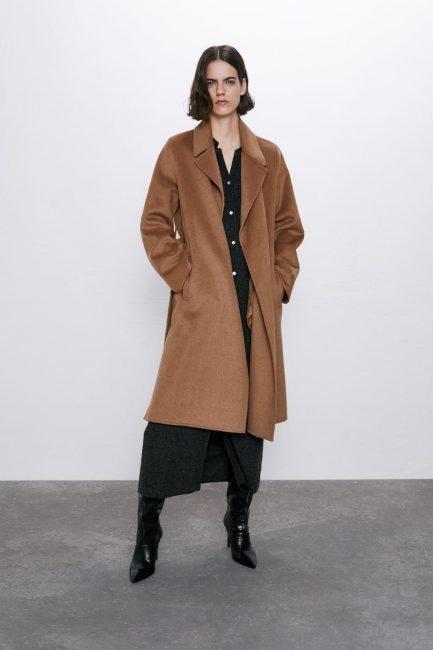 Cappotto a vestaglia Zara colore camel scuro