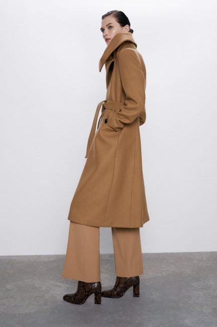 Cappotto a vestaglia Zara colore cammello 2020