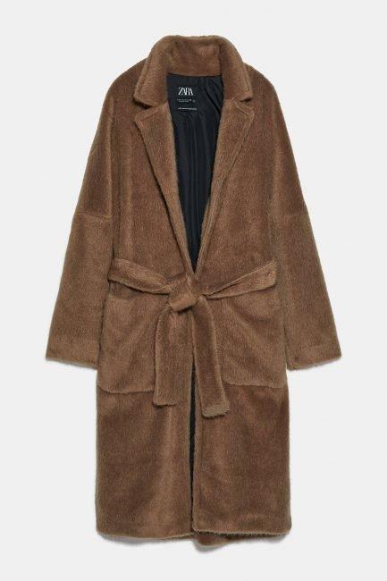 Cappotto a vestaglia Zara in pelliccia sintetica 2020