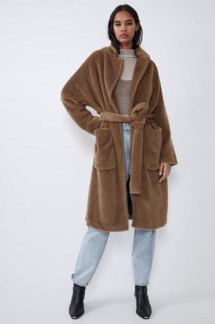 Cappotto a vestaglia Zara in pelliccia sintetica colore cammello scuro