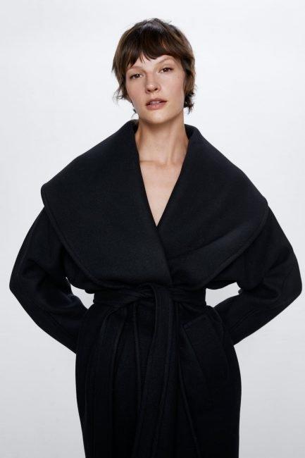 Cappotto a vestaglia nero Zara inverno 2020