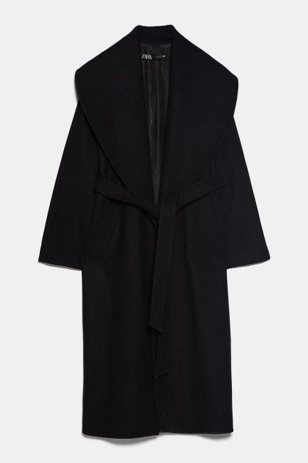 Cappotto lungo a vestaglia nero Zara inverno 2020