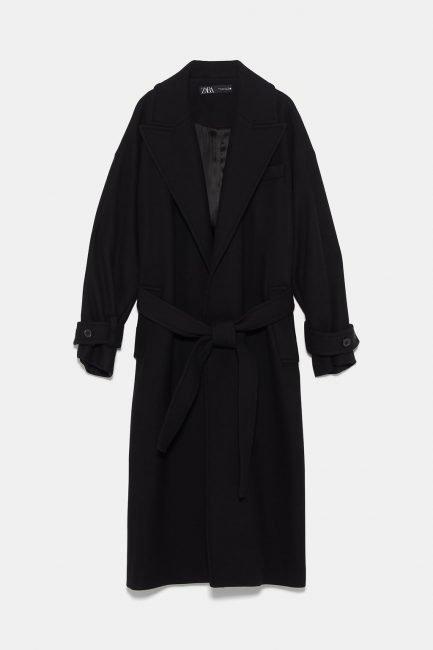 Cappotto nero con cintura Zara inverno 2019 2020