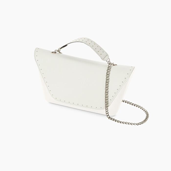 Pattina in ecopelle bianche con manichetto e borchie borsa o bag sheen