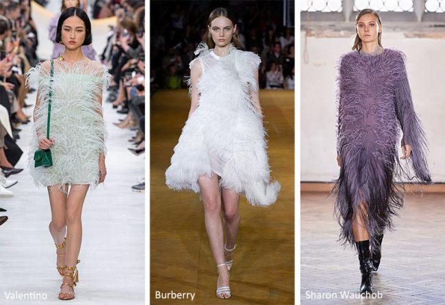 Abiti con le piume moda 2020
