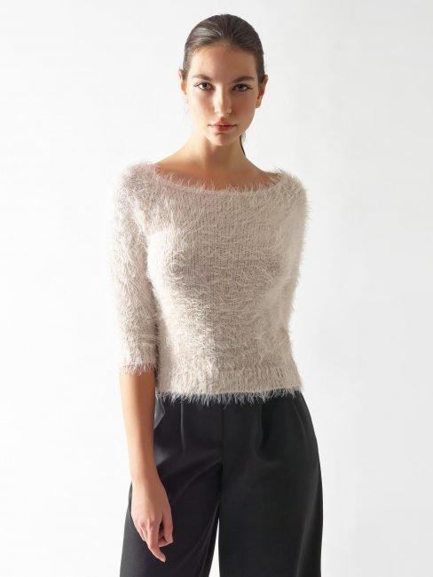 Rinascimento maglia furry color crema