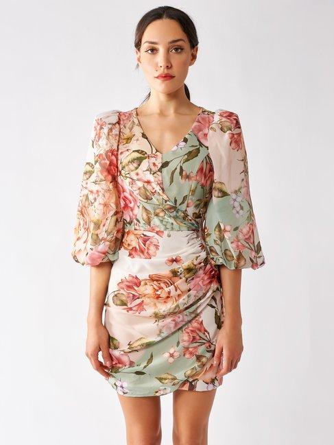 Rinascimento abito corto in fantasia floreale estate 2020