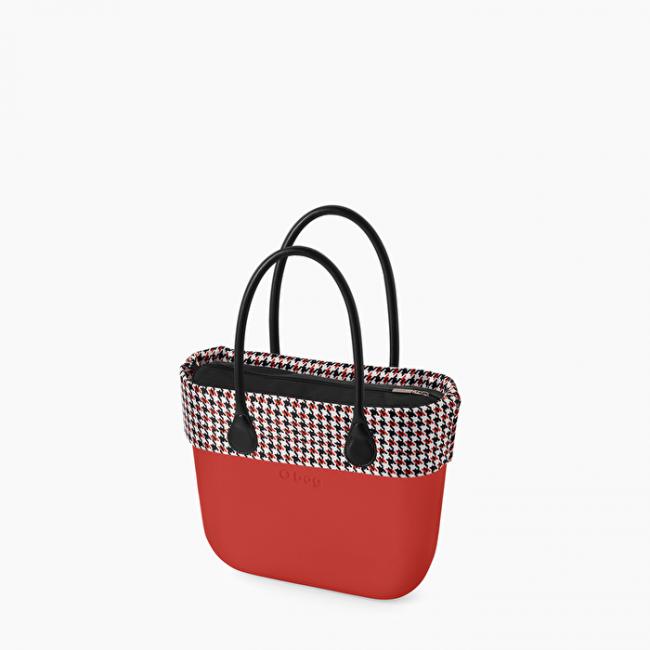 Borsa O bag rossa con bordo pied de poule collezione primavera estate 2020