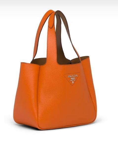 Borsa in pelle arancione Prada primavera estate 2020