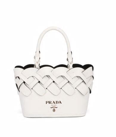 Mini shopping Prada in pelle intrecciata estate 2020 colore bianco