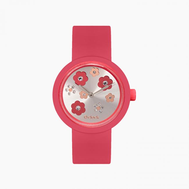 Nuovo orologio O Clock di O Bag con meccanismo crystals rosso