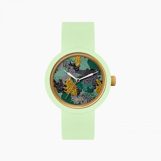 Nuovo orologio O Clock verde con meccanismo metal camouflage verde militare primavera estate 2020
