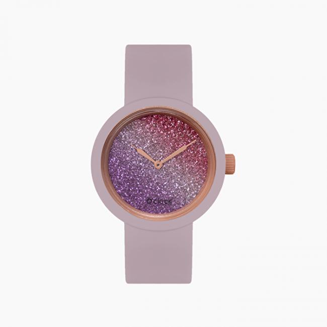 Nuovo orologio O Clock viola pastello con meccanismo glitter bicolor primavera estate 2020