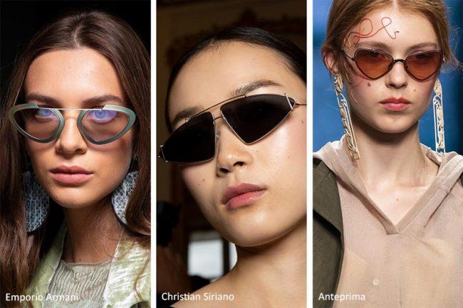 Occhiali a sole dalla forma triangolare moda estate 2020