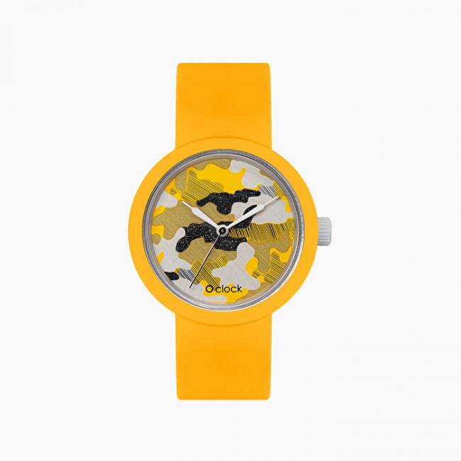 Orologio O Clock Giallo con nuovo meccanismo camouflage argento giallo collezione primavera estate 2020