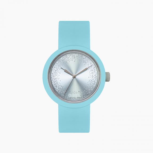 Orologio O Clock azzurro con nuovo meccanismo glitter collezione primavera estate 2020