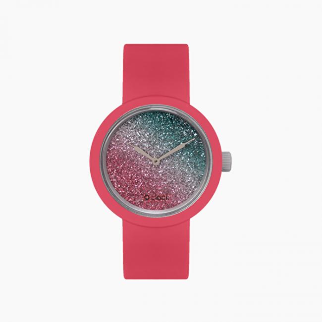 Orologio O Clock color magenta con meccanismo glitter bicolor amaranto e petrolio spring summer 2020