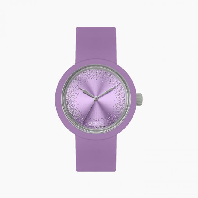 Orologio O Clock viola con nuovo meccanismo glitter collezione primavera estate 2020