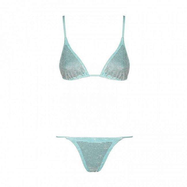 Bikini Chiara Ferragni Collection 2020 in ciniglia azzurra e cristalli