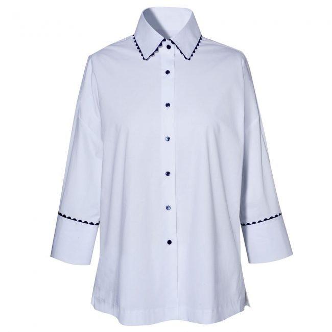 Camicia bianca con bottoni blu NaraCamicie