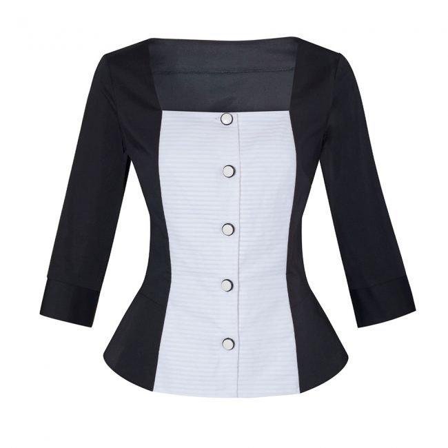 Camicia bianca e nera slim fit donna