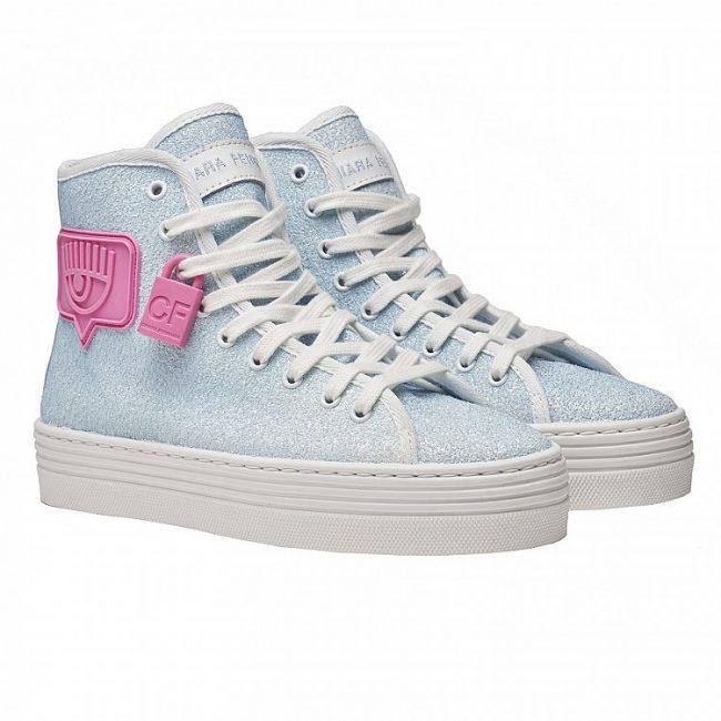 Sneakers alte Chiara Ferragni Eyelike azzurre estate 2020