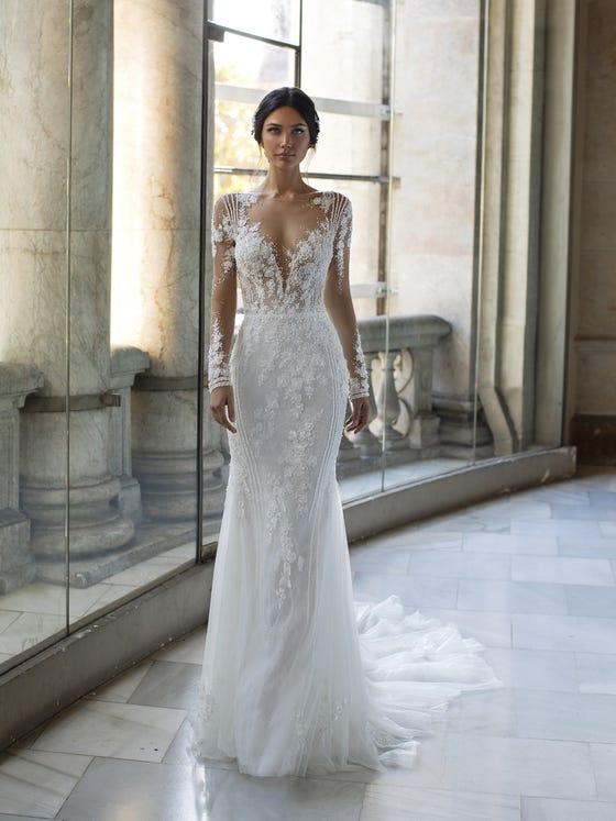 Abiti da sposa a sirena con maniche lunghe Pronovias 2021 1