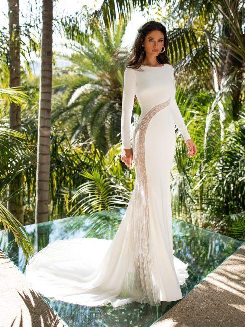 Abito da sposa a sirena con maniche lunghe 2021 Pronovias