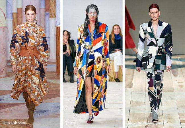 Stampa patchwork moda abbigliamento donna inverno 2020 2021