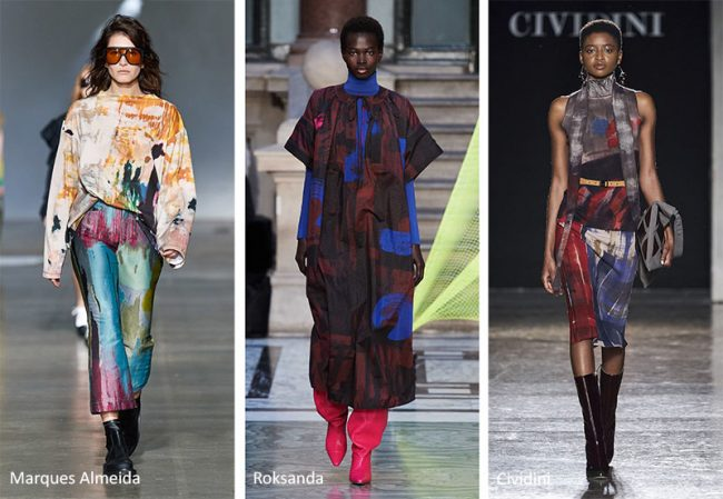 Tendenza Moda abbigliamento inverno 2020 2021 con stampe astratte e pennellate di colore