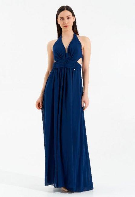 Rinascimento abito lungo da cerimonia blu navy collezione autunno inverno 2020 2021