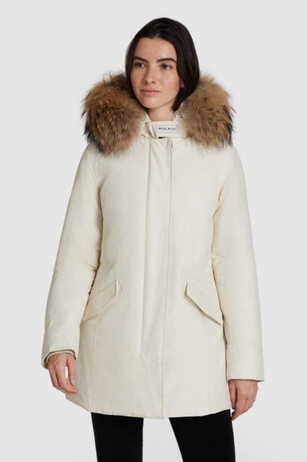 Woolrich Arctic Parka con pelliccia sul cappuccio colore white stone inverno 2020 2021
